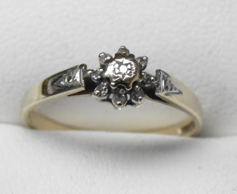 9ct Gold Diamond cluster ring - size N 1/2