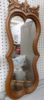 "Vintage carved walnut mirror  (10.5"" x 28"")"