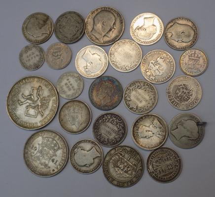 Good selection of mixed silver coins including Victorian, Edwardian etc.