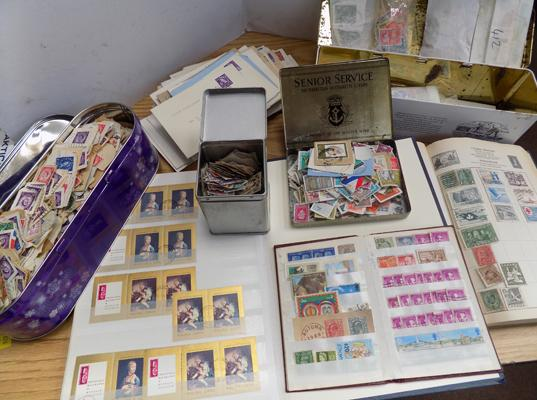Box of stamp albums, stock books, file of FDCs, old envelopes and 4 tins of stamps