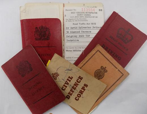 5 intact vintage driving licences