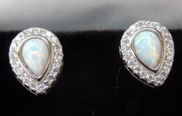Pair of Silver and Opal earrings