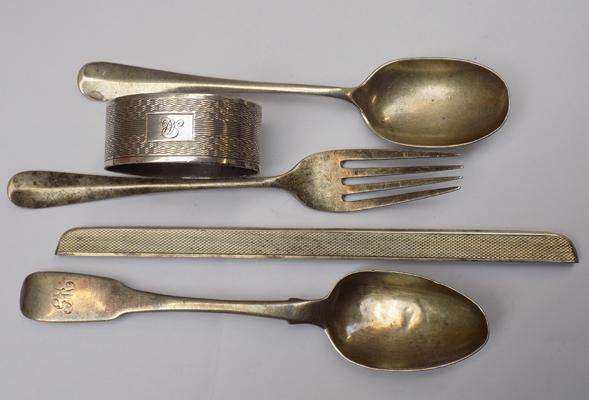 Selection of mixed silver items inc. napkin ring, silver comb cover and mixed cutlery-over 100 grams with various hallmarks