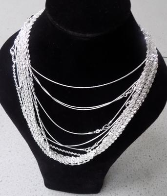 15 silver chains - stamped 925