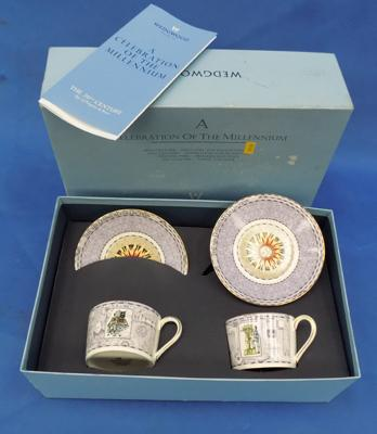 Millennium celebration presentation Wedgewood cups and saucer set