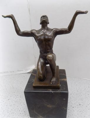 "Bronze meditator on marble plinth - 7"" high"