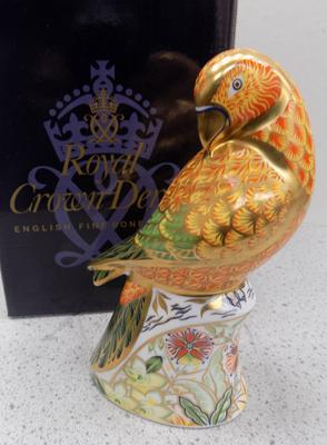 Royal Crown Derby sun parakeet paper weight gold stopper