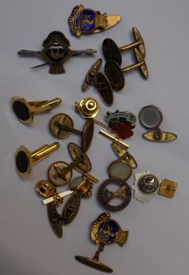 Selection of vintage brooches and cufflinks in gold and silver