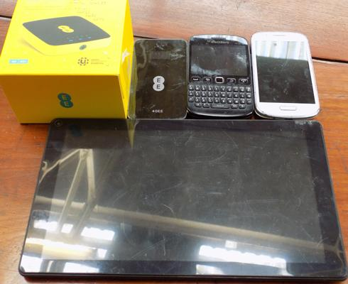 Tablet, 3 phones and 4GEE WiFi and charger