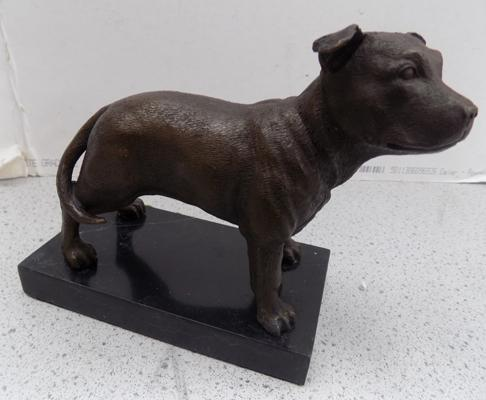 "Bronze Staffordshire dog on marble plinth - 51/2"" high"