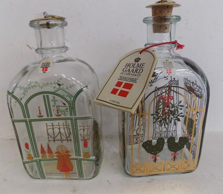 Pair of Holme Gaard Christmas decanters