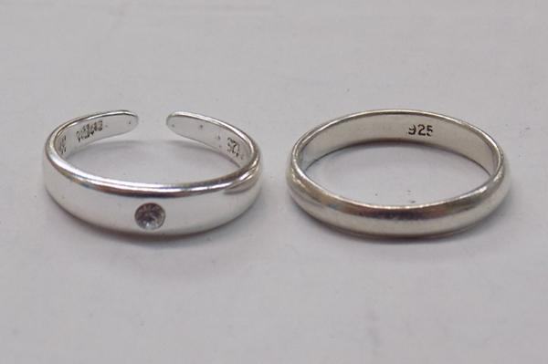 x2 silver rings approx. size H and I