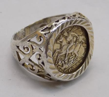 925 silver St George ring approx. size L