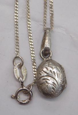 Silver locket (small) on silver IBB chain