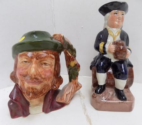 Admiral Lord Howe and Will Scarlet Staffordshire Toby Jugs