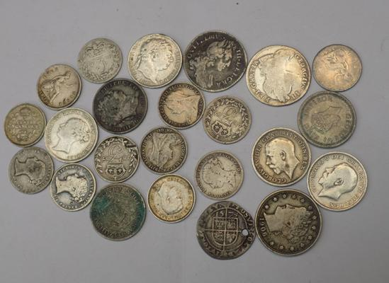 Selection of mixed silver coins