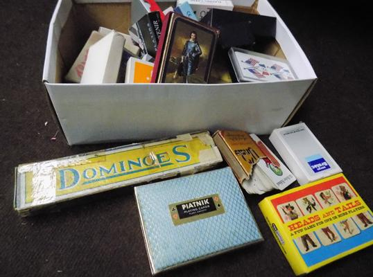 Large collection of vintage playing cards and pack of dominoes