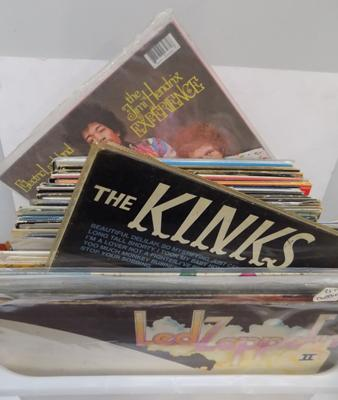Box of Collectable LPs inc: Led Zeplin, Kinks, Hendrix, Iron Maiden