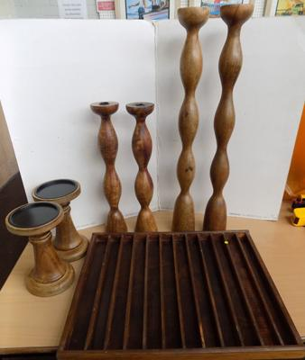 3 pairs of wooden candlesticks and display box