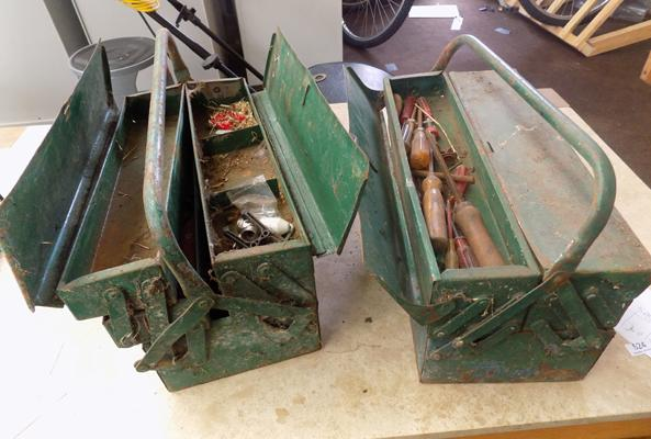 2 metal tool boxes and contents