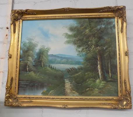 Oil canvas landscape scene