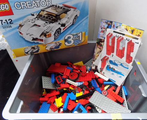 Box of various lego