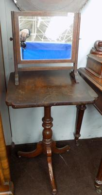 Small table and antique mirror