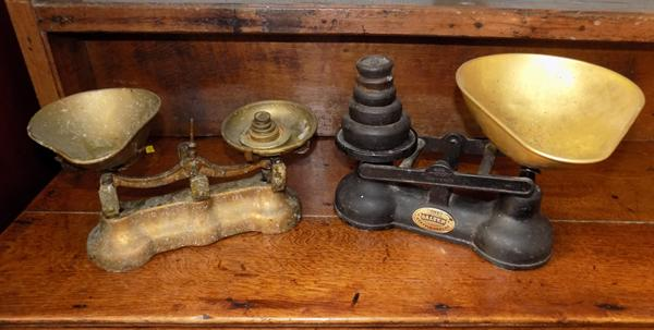 Two sets of vintage scales and weights