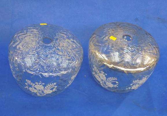 2 vintage glass shades