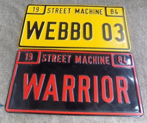 x2 licence plates- WEBBO03 and WARRIOR