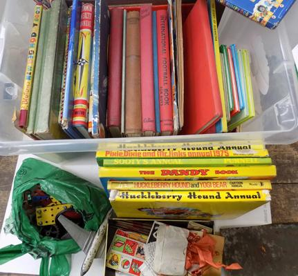 Large box of childrens books and other vintage toys inc; meccano