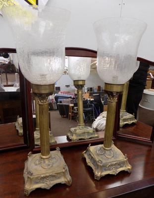 2 brass and glass candle sticks with shades