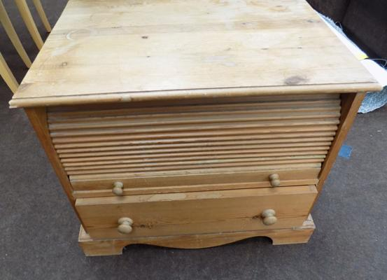 Small pine roll top cupboard