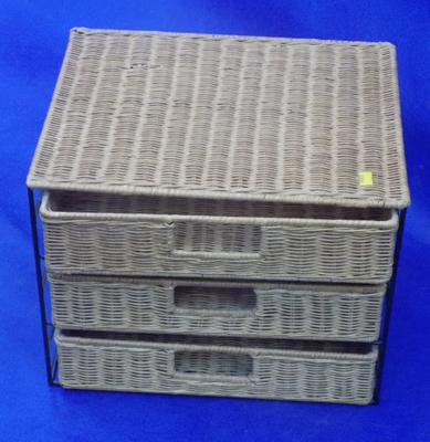 Wicker small 3 drawer storage unit