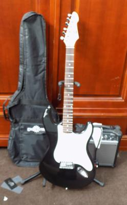 Fred 4 Music electric guitar, amp, stand and case
