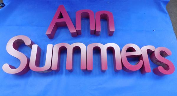 Ann Summers shop sign letters