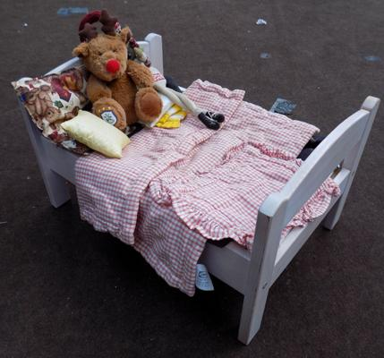 Wooden dolls bed and toys