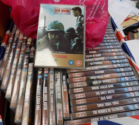 Large box of DVD's - war DVD's and magazines