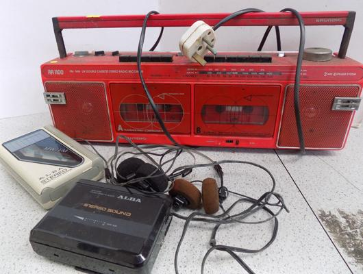 Vintage portable stereo and walkmans