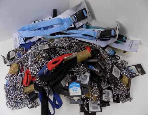 Box of dog leads and flashing collars
