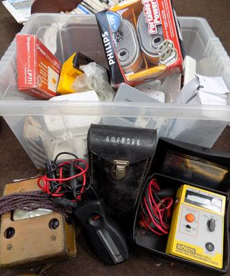 Box of electrical meters and items