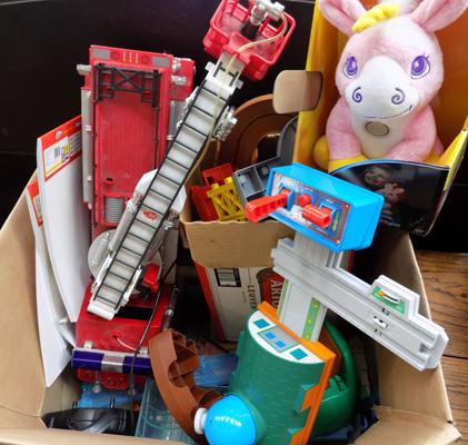 Box including Thomas Tank, unicorns