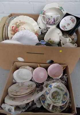 Box of mixed ceramics incl: Royal Albert, Ducal, Spode, Minton and Meakin
