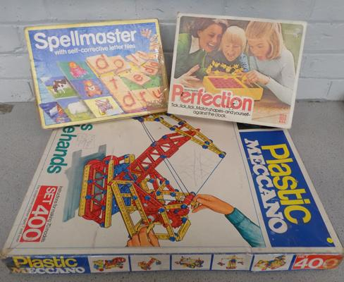 Vintage Meccano and two other games