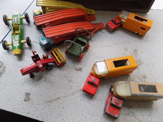 Box of Lesney matchbox trucks