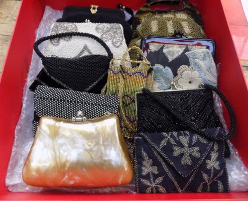 Collection of 10 vintage evening bags