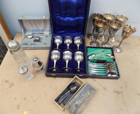 Selection of EPNS goblets, spoon sets and other kitchen items