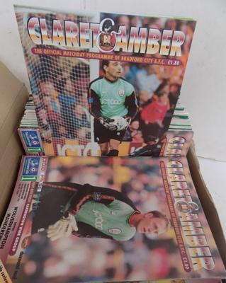 Box of over 80 Bradford City home programmes 1990's