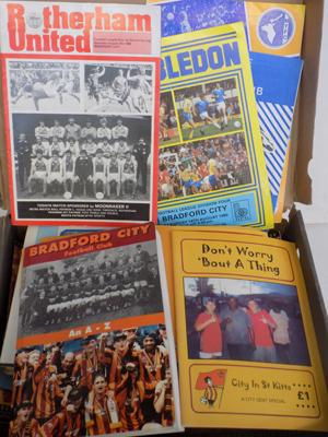 Box of over 100 Bradford City home/ away programmes 1970's-1990's