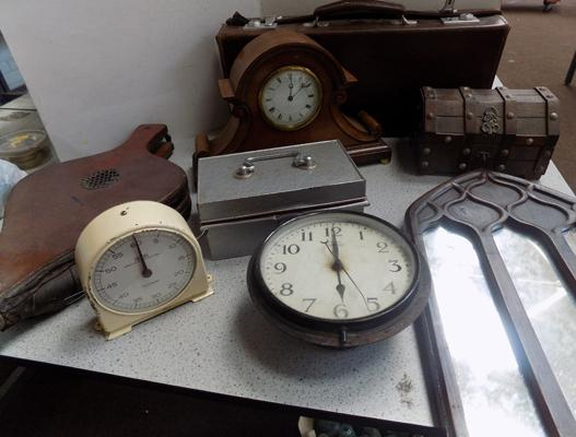 Collection of boxes, bellows, clocks etc